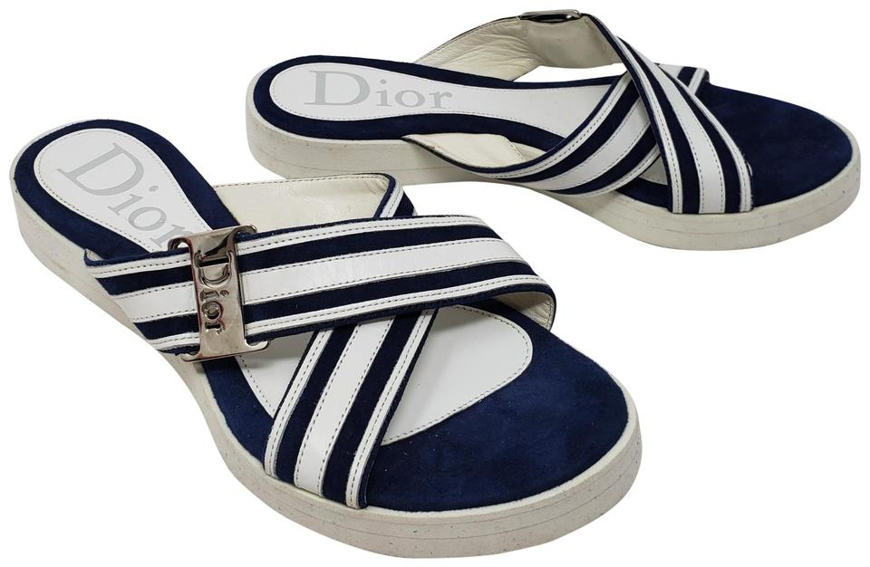 3535cd32ed2b Dior White Leather Logo Striped Flat Sandals Size EU 36 (Approx. US ...