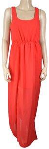 Red Maxi Dress by Wet Seal Maxi Ruched Sheer