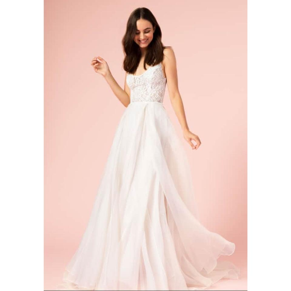 Bodice Wedding Gown: Bliss By Monique Lhuillier Silk White/Blush Lace Bodice A