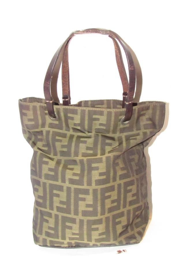 9ff57fe72451 Fendi Mint Condition Medium Tote Satchel Canvas Leather Tote in brown  tobacco zucca ...