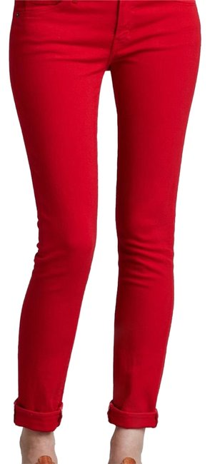 Item - Red Medium Wash  Rolled Raw Caution 23 Skinny Jeans Size Petite 2 (XS)