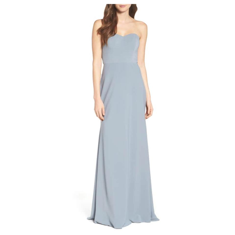 a9e814395d8 Jenny Yoo Denmark Blue Kylie Tie Back Strapless Gown Long Formal ...