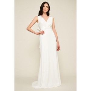 Tadashi Shoji Chandler Bow Back Crepe Gown Modern Wedding Dress Size 14 (L)