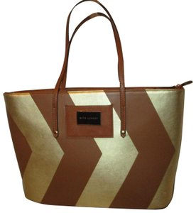 Kate Landry Man Made Faux Leather Large Chevron 003 Tote in British tan & gold