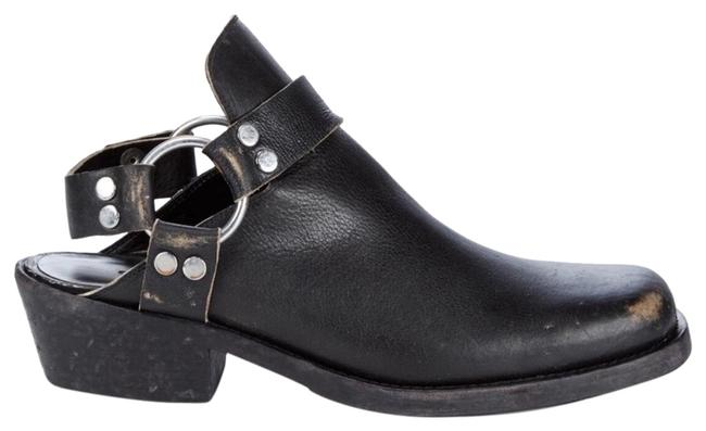 Item - Black New Distressed Open Leather Mules/Slides Size US 7 Wide (C, D)