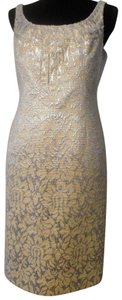 Carmen Marc Valvo Designer Sheath Jeweled Textured Brocade Cocktail Dress