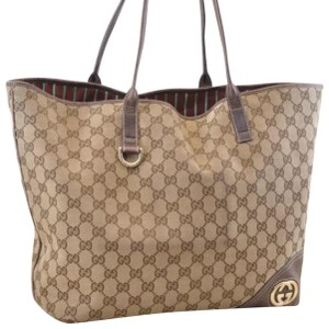 8eb5489a88eb01 Added to Shopping Bag. Gucci Tote in brown. Gucci Monogram Brown Canvas Tote