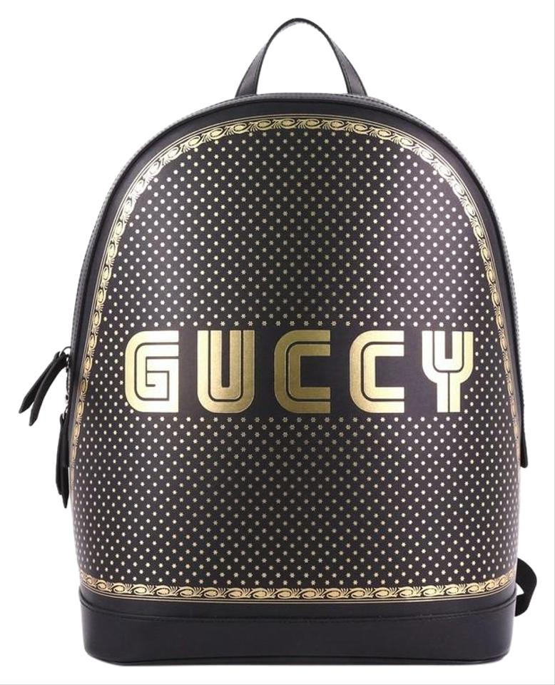 a9f379afba4 Gucci Limited Edition Printed Medium Black Leather Backpack - Tradesy
