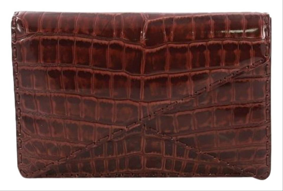 f5cc6bf9f312f Bottega Veneta Piano Crisscross Small Brick Red Crocodile Skin ...