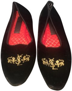 Saint Laurent Gold Velvet Lion Black Flats