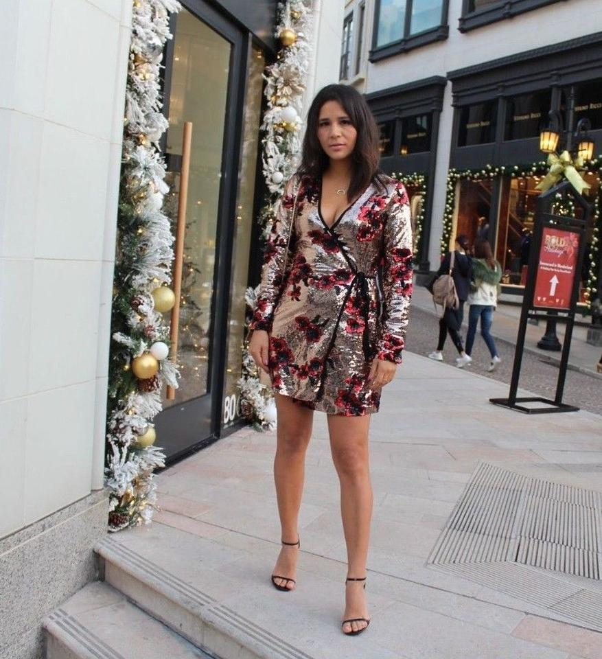 ba6ff473e3c Zara Gold Red Crossover Wrap Sequins Floral Embellished Short Night Out  Dress Size 4 (S) - Tradesy