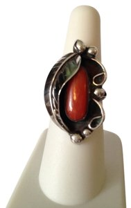 Red Bamboo Coral & Sterling Silver Leaf Ring, Size 7
