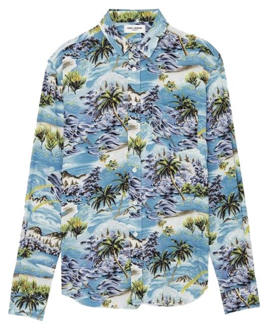 Item - Multicolor Signature Yves Collar Oversized Hawaiian Print Button-down Top Size 10 (M)