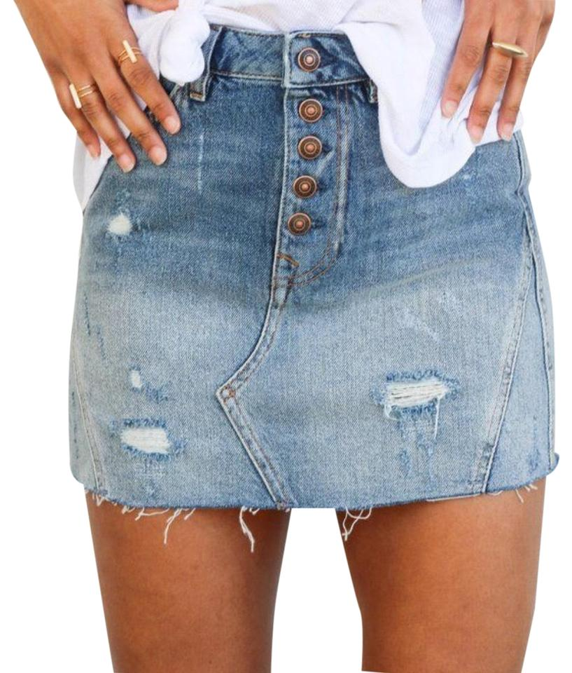 0bf2e24c1 Free People Blue Denim Skirt Size 4 (S, 27) - Tradesy