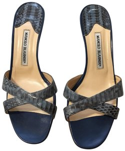 Manolo Blahnik blue snakeskin Sandals