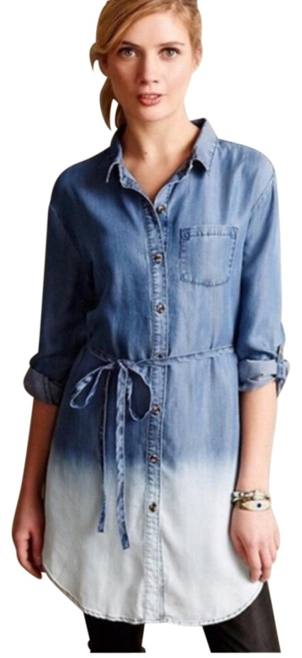 9574a07834fa Anthropologie Blue Holding Horses Dip Dye Chambray Tunic Short ...