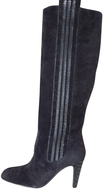 Item - Black Suede Knee High Pull On New Scallop Detail High Heels Round Toe Boots/Booties Size EU 38 (Approx. US 8) Regular (M, B)