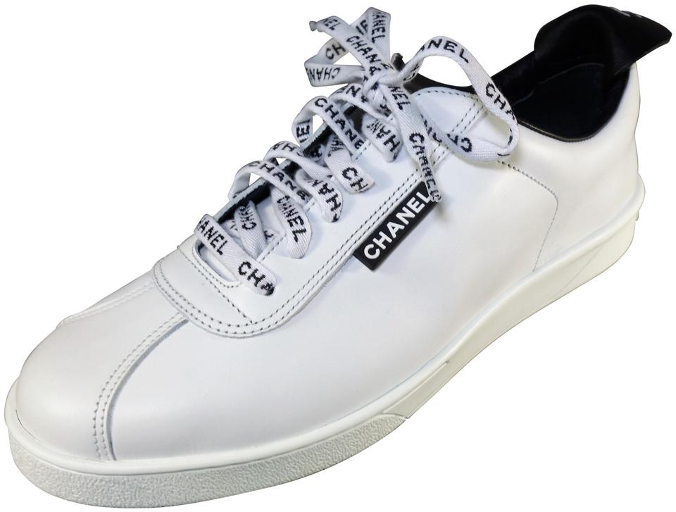 7c402d3f4561 Chanel White with Black Leather Sold Out Lace Up Weekend Sneakers ...