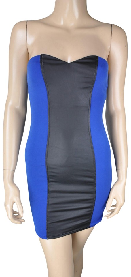 Arden B. Blac Blue Faux Leather Strapless Bodycon Short
