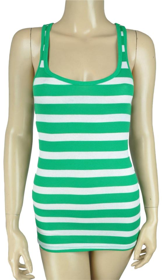 f3a2330cadbe77 Ambiance Apparel Green White Striped Two Shirt Tank Top Cami Size 6 ...