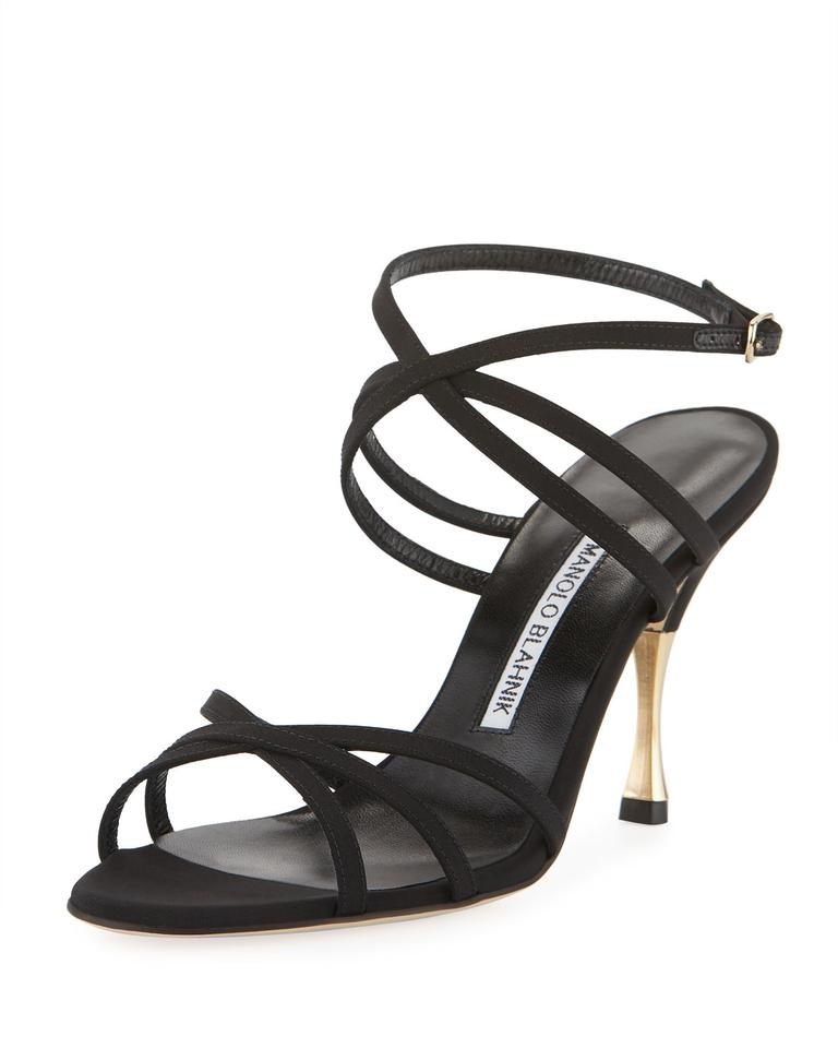 a2e31ea6dc5 Manolo Blahnik Black Naro Strappy Satin Sandals Size US 9 Regular (M ...
