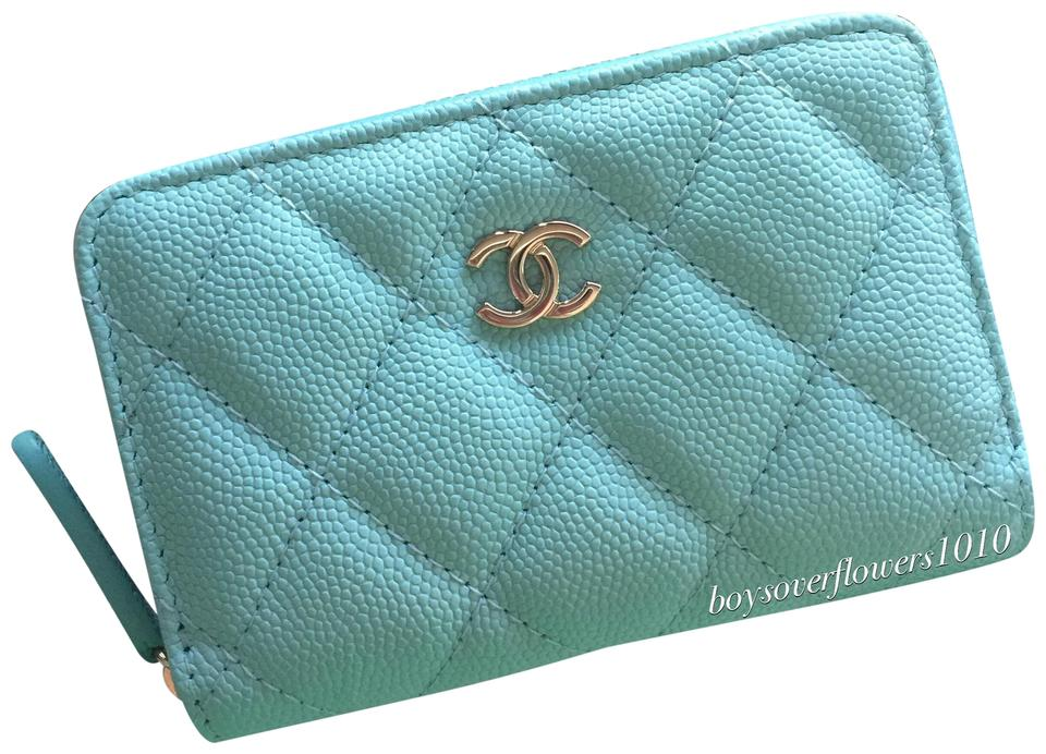 d68017c6661e Chanel New 19C Tiffany Blue Caviar Leather Zippy Card Case Holder Wallet  Image 0 ...