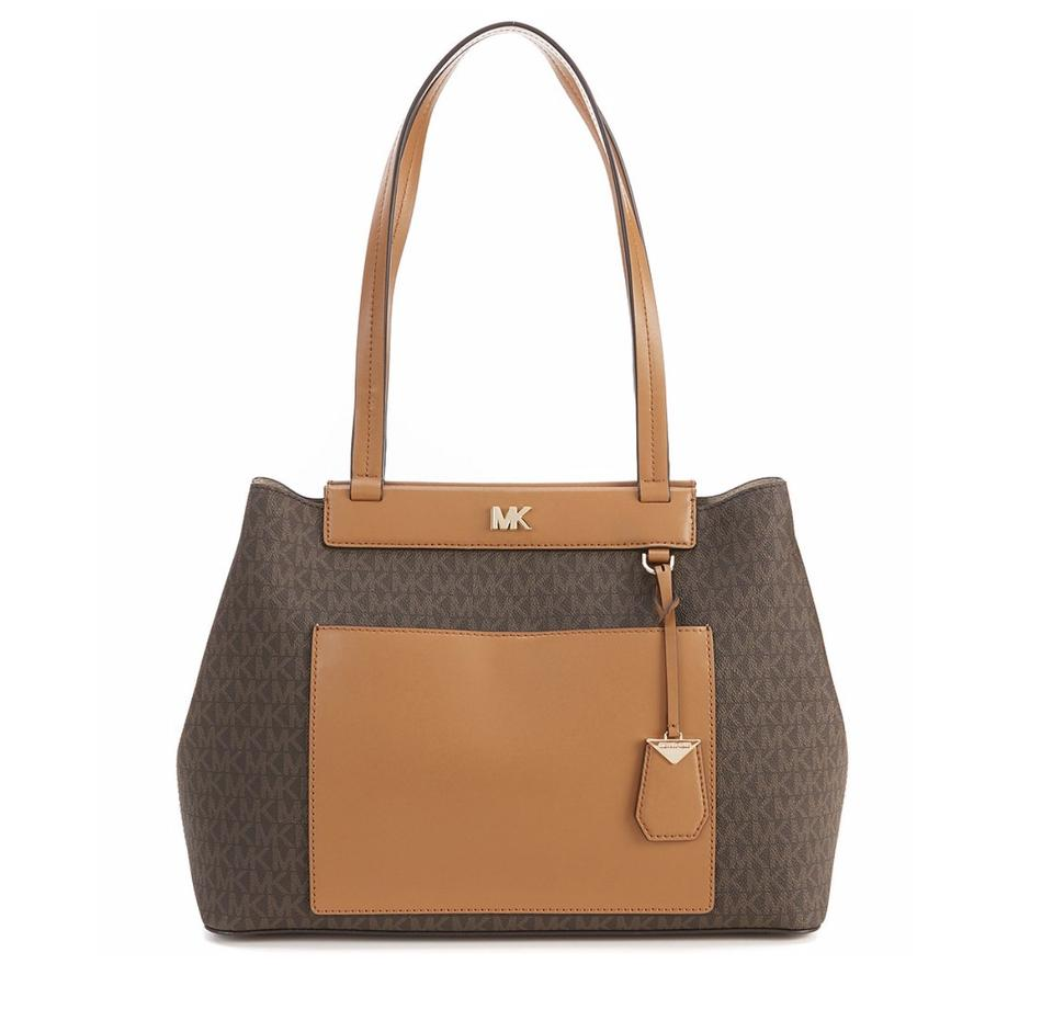 f76565e75f2a Michael Kors Meredith Medium Colorblock Tote Brown Mk Signature ...