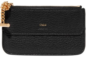 Chloé Drew Black Textured Leather Cardholder Coin Pouch