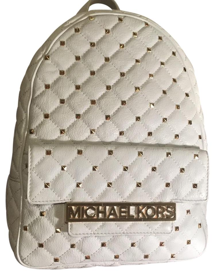 2051ee9fe852 MICHAEL Michael Kors White and Gold Leather Backpack - Tradesy