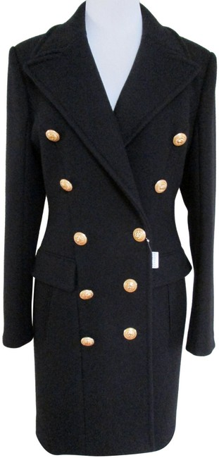 Item - Black Classic Double Breasted Gold Button Wool Cashmere Coat Size 10 (M)