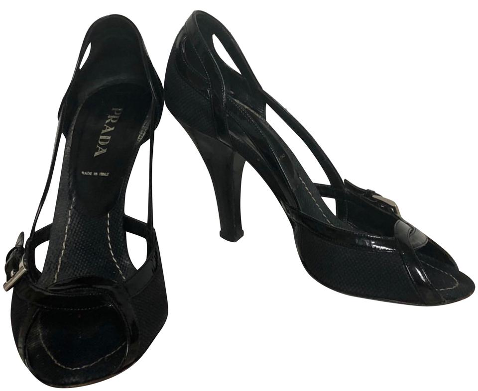 c6f95cd2917 Prada Black Patent Trim Woven Woven Canvas Heels Pumps. Size  EU 39 (Approx.