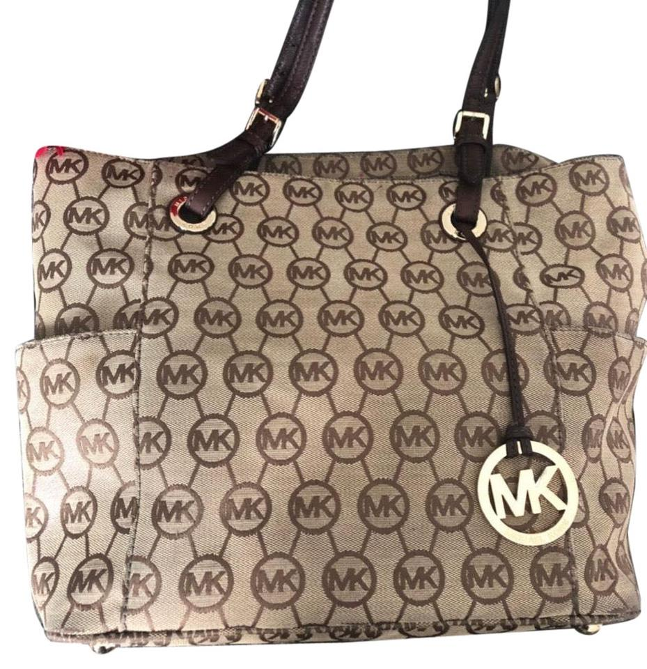 1f55aac36afd Michael Kors Signature Shoulder Purse Medium Print Brown Beige and Gold Tote