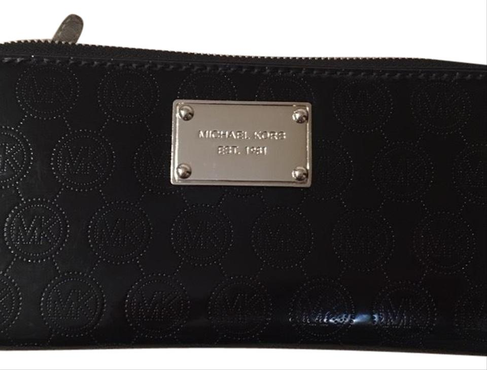f008e00b7e31 Michael Kors Black Patent Leather Monogram Zip Wallet - Tradesy
