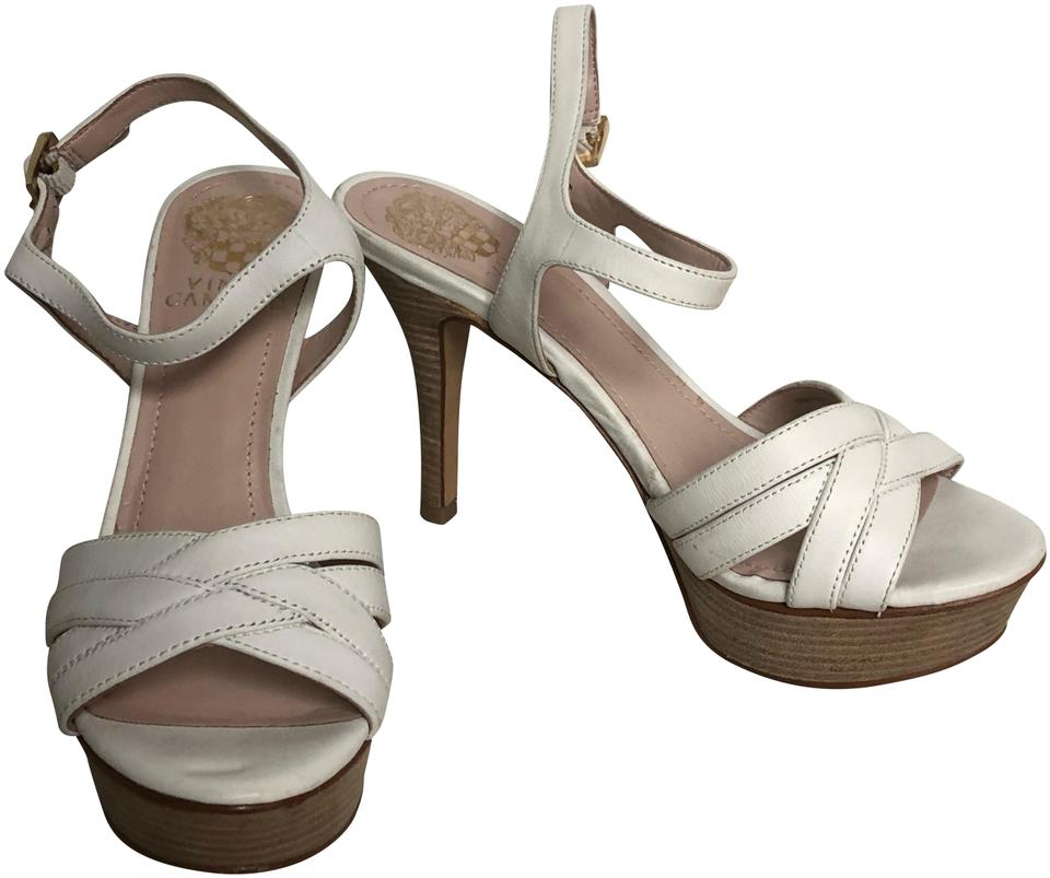 0cc418562fd Vince Camuto White Leather Wooden Sandals Platforms. Size  US 6 ...