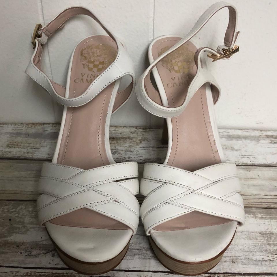 86aeda974f4 Vince Camuto White Leather Wooden Sandals Platforms Size US 6 ...