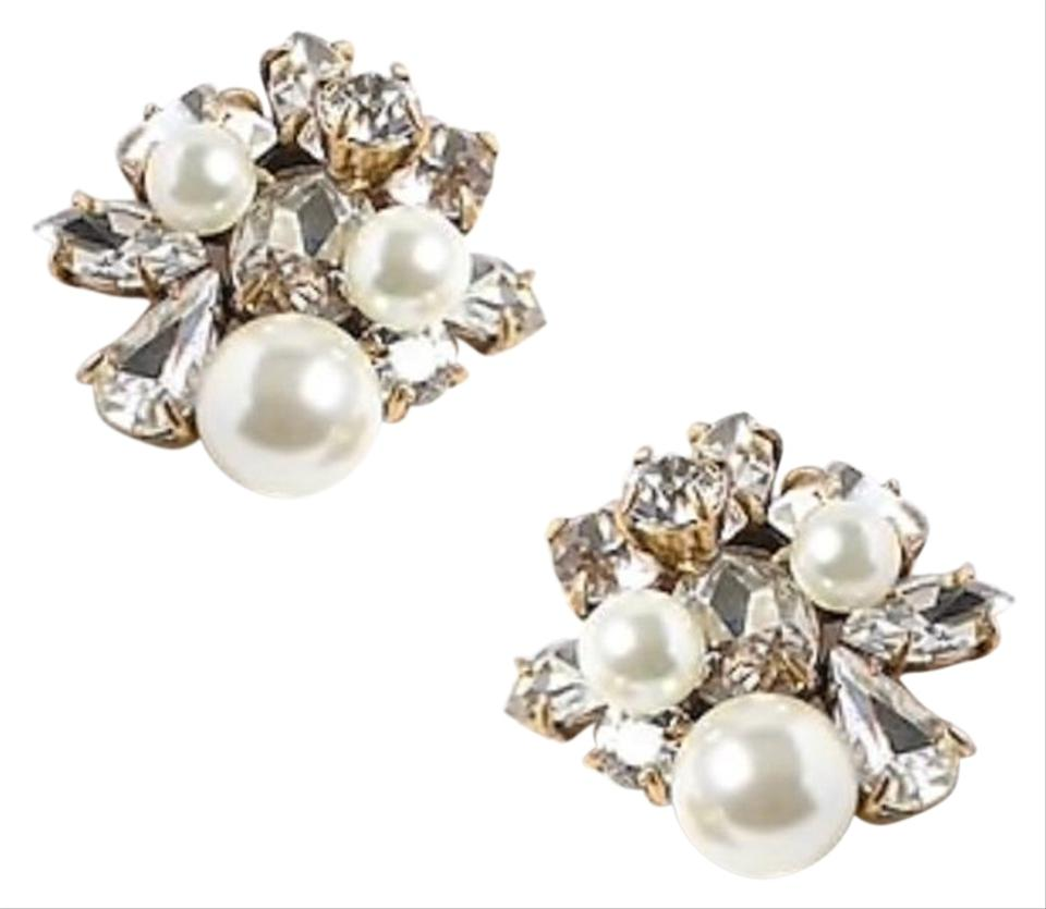 57c3cff12ed J.Crew Clear Crystal Pearls Cluster Post Earrings - Tradesy