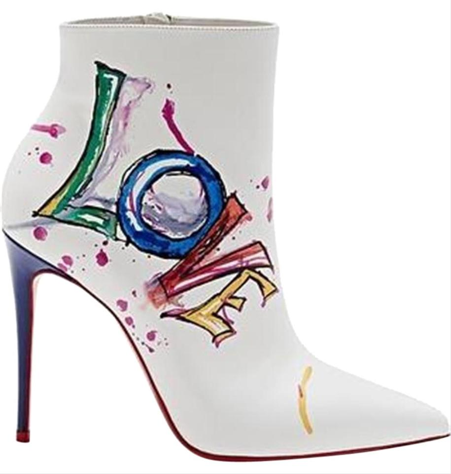 918c61003a02 Christian Louboutin White In Love 100 Printed Leather Heels Ankle Boots  Booties
