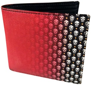 Alexander McQueen AMCQ Black and Red Unisex Bifold Leather Skulls Wallet