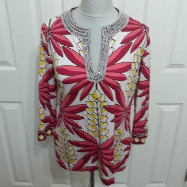 Preload https://img-static.tradesy.com/item/24567066/tory-burch-red-yellow-floral-beaded-silk-blouse-size-10-m-0-0-650-650.jpg