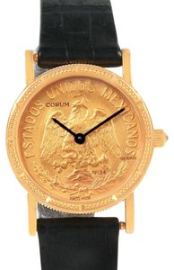 Corum Corum Yellow Gold 10 Pesos Coin Year 1959 Diamond Ladies Watch