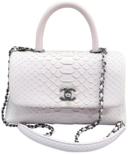 Chanel Coco Handle Snakeskin Leather Satchel in Light Pink