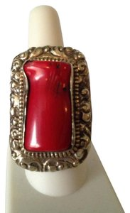 Other Large Sardinian Coral In Sterling Silver & Other White Metals Ring, Size 6-11