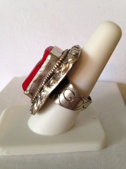 Other Large Sardinian Coral In Sterling Silver & Other White Metals Ring, Size 6-11 Image 2