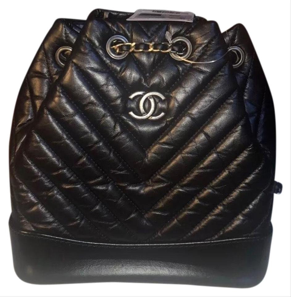 Chanel Gabrielle Backpack Chevron Quilted Black Lambskin Leather ... 7008d801a8857