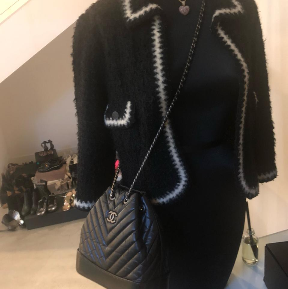 Chanel Gabrielle Backpack Chevron Quilted Black Lambskin Leather ... a22d53e0e32a0