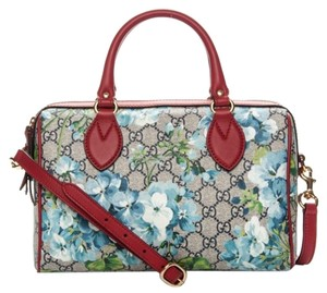 Gucci Beige/Blue Gg Coated Canvas Small 409529 8492 Satchel in Blue