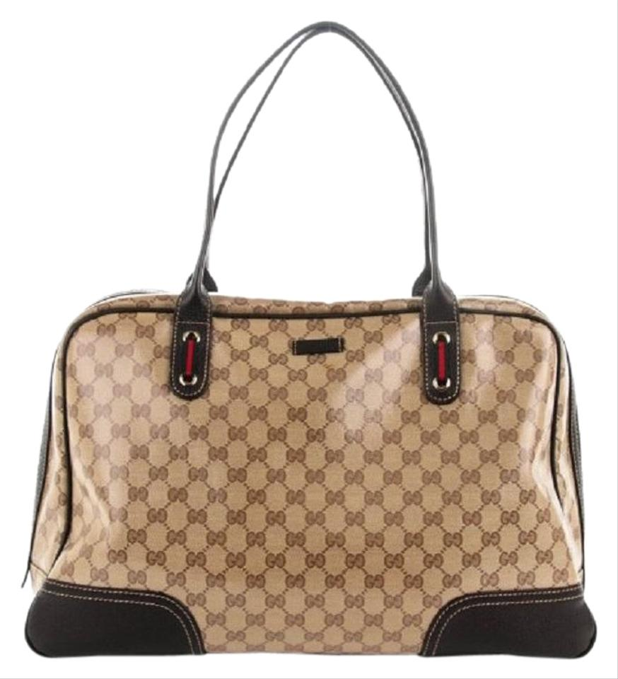 335025a395af50 Gucci Crystal Large Princy Brown Coated Canvas Satchel - Tradesy