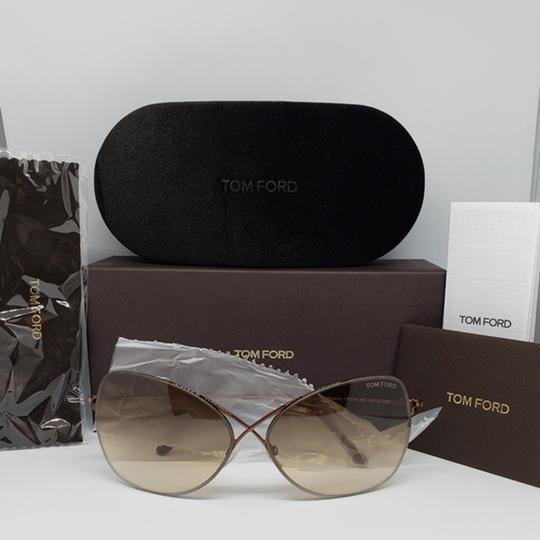 Tom Ford Women Butterfly Sunglasses Metal Frame with Brown Gradient Lens