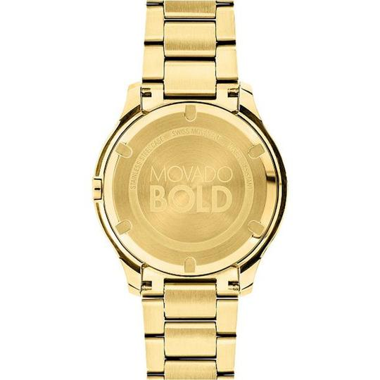 Movado Bold 38mm Gold Dial Yellow Gold Ion-plated Swiss Quartz Ladies Watch