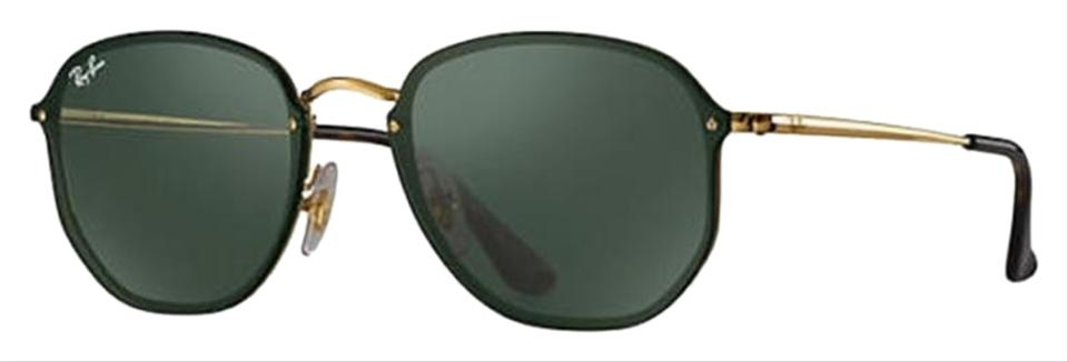 Ray-Ban Blaze Gold Frame   Green Classic Lens Rb3579n 001 71 Round Style  Unisex Sunglasses 720a53d19a